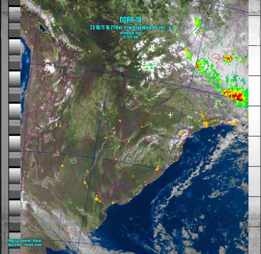 NOAA-18 Image of Southern Brazil weather, using a UC-1374-531R antenna (21/Oct/2011-1921 UTC, courtesy of L. Souza)
